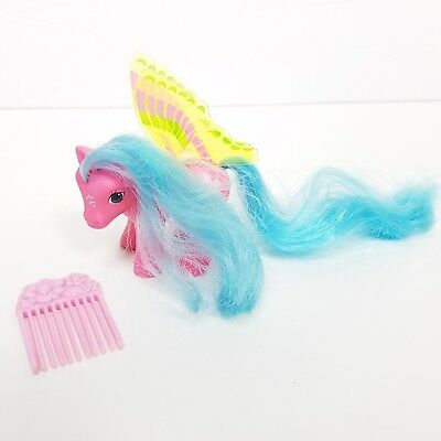 Vintage My Little Pony 1988 Pink Blue Yellow Wing Winged Bird Floral Comb