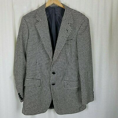 Marcus by Neiman Marcus Wool Houndstooth Blazer Jacket Sportcoat Mens 41 Vintage