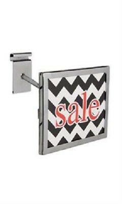 """6 Wire Grid Sign Holder Chrome Holds 7"""" Wide x 5 ½"""" High Signs Metal Grid Wall"""