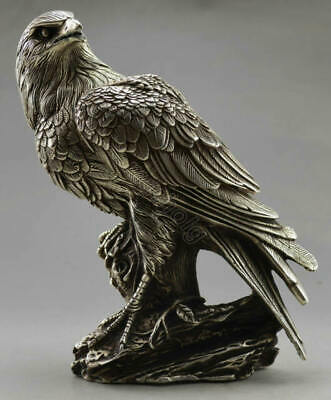 Collectible Old Chinese Tibet Silver Handwork Carved Eagle Statue