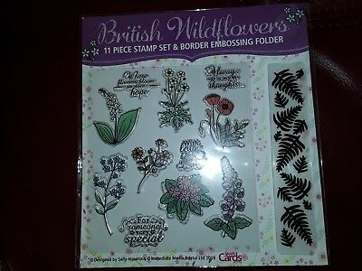 11 Piece Stamp & Embossing folder Set, Flowers, Sentiments,  Card Toppers.