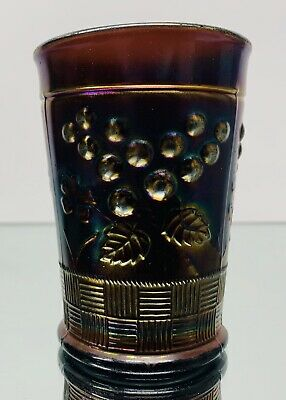 Antique Northwood Carnival Glass Amethyst Raspberry Tumbler Basket Weave Damaged