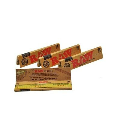 Raw Classic King Size Slim 5 Booklets 32 Per Pack Box Rolling Papers Brown
