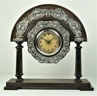 Table clock RARE antique Brazilian rosewood and solid silver