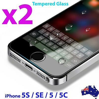 2x Scratch Resist Tempered Glass Screen Protector for Apple iPhone 5S 5C SE 5 4