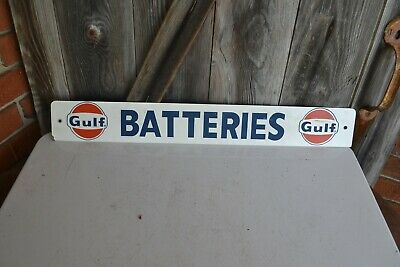 Vintage Gulf Batteries Metal Sign Battery Rack Gulf Gas Station Sign