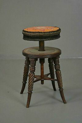 Antique Mahogany Adjustable Music Piano Stool