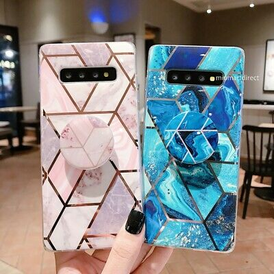 Marble Phone Case Cover For Samsung Galaxy Note 10 S10 Plus S9 S8 Socket Holder