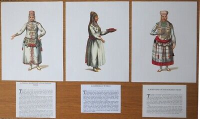 3 x COLOUR PRINTS OF RUSSIAN DRESS CIRC 1810 FROM DAMAGED BOOK IDEAL FOR FRAMING