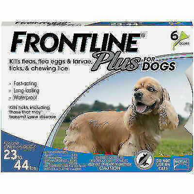 Frontline Plus For Dogs Flea and Tick Treatment Med 23-44lbs 6 Vials 6 months