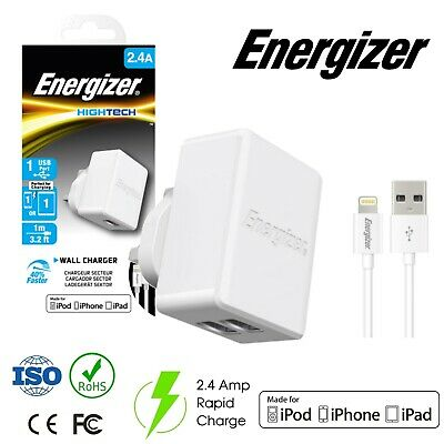 Energizer Apple Lightning 1 USB Wall Mains Charger 2.4 Amp Rapid Fast Charge