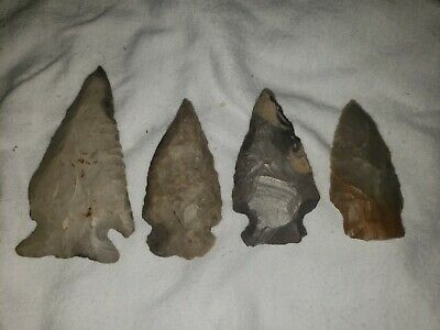 Authentic Native American artifact arrowhead midwest bird / arrow point Lot of 4
