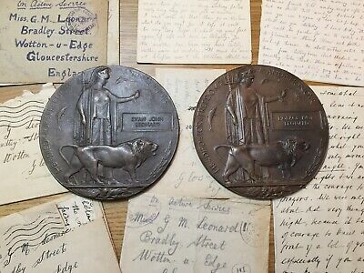 WWI Death Plaques Leonard Brothers Wotton under Edge Gloucestershire + Letters
