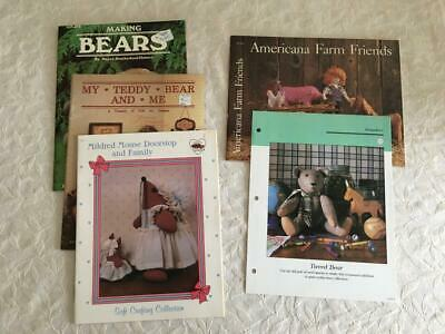 Lot 5 Making Bears Book Pattern Instructions Fabric Wood Mouse Farm Animals Doll