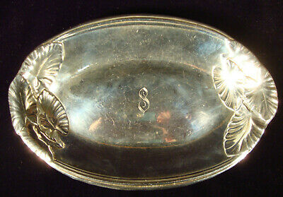 Sterling Oval Serving Bowl or Tray with Leaf Pattern - International Silver