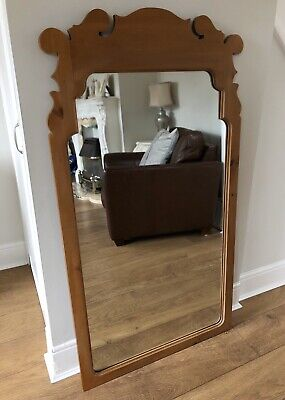 Carved Solid Rectangular Pine Effect Large Brown Wall Mirror Or Freestanding