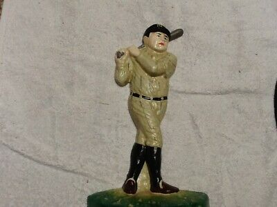 Vintage Hand Painted Cast Iron BABE RUTH ⚾️ Door Stop/Bookend Cast Iron