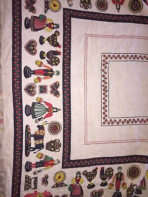 Vintage Spain Spanish Theme Tablecloth Man Women Bull Rooster Chicken 49 X 64