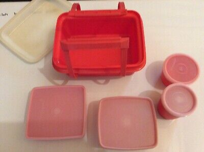 Tupperware Pack n Carry Lunch box orange 11 pieces COMPLETE