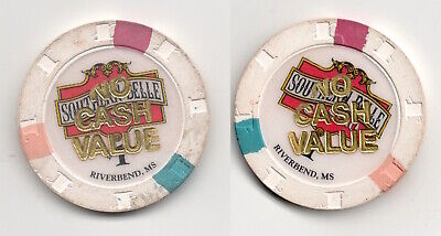 Southern Belle Casino Riverbend Mississippi NCV $1 Tournament Poker Gaming Chip