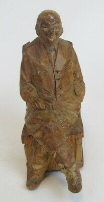 Vintage Arthur Dube ? Carved Wood Old Gentleman Man in Rocking Chair Sculpture