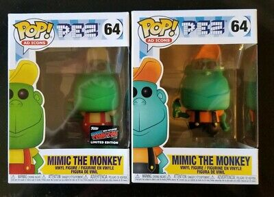 Funko Pop! Pez #64 Mimic The Monkey 2019 NYCC Official Sticker 2 Pop Lot