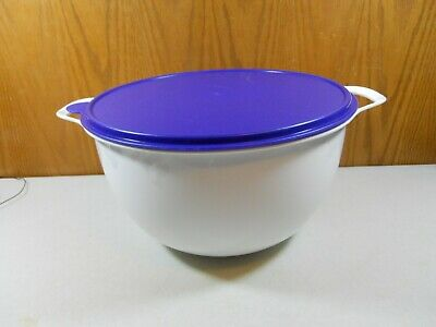 Tupperware Fix N Mix # 25398-4 - Large 32 Cup White Bowl and blue Seal Lid