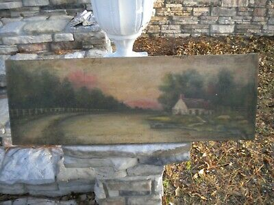 """Antique 1800's Old Cottage Home River Scene w/ Boat 32.5"""" x 11"""" Unknown Painting"""
