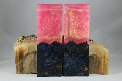 Dyed Burl Pink Gold Composite Knife Handle Material Blank Scales (372)