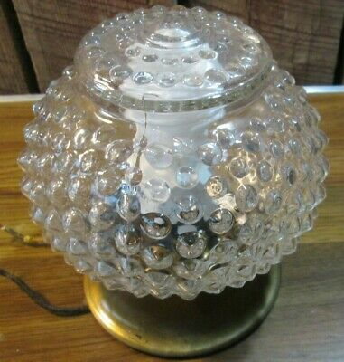 Vintage Hobnail Ceiling Light Lamp Fixture Glass  bath hall porch BRASS BASE