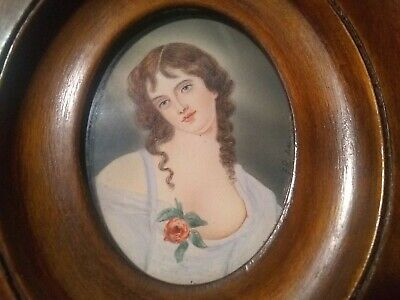 Miniature Watercolor Portrait of Girl Early/Mid 19th Century Antique Vintage OLD