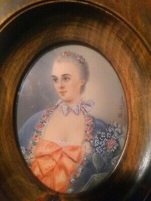 Miniature Watercolor Portrait Lady Early/Mid 19th Century Antique Vintage OLD