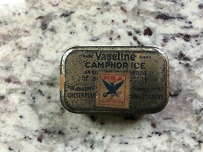 Antique 1930's Vaseline Camphor Ice mfg in New York City apothecary medical tin
