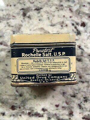 Rexall Puretest United Drug Antique Rochelle Salt apothecary medical tin vintage