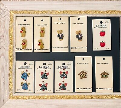 Jhb & La Mode Button Cards Novelty Christmas Teddy Bears and more NOS