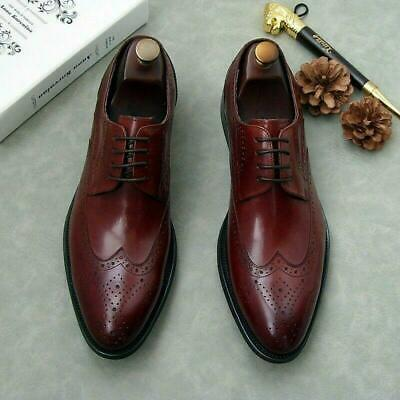 Mens Wing Tip Lace Up Wedding Brogue Leather Oxfords Dress Wing Tip Shoes 2020