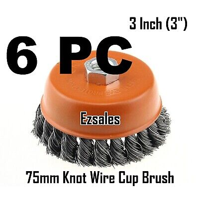 """6 Wire Cup Brush 3"""" (75mm) for 4-1/2"""" (115mm) Angle Grinder Twist Knot 5/8-11NC"""