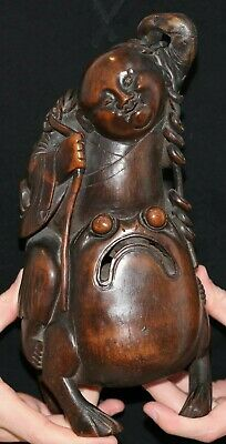Very Beautiful Old Chinese Carved Bamboo Statue of Liu Hai on Toad.