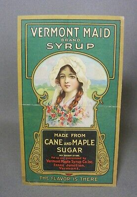 Antique Art Nouveau Paper Maple Syrup Label Vermont Maid Brand
