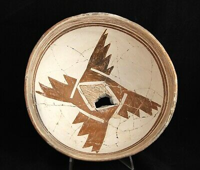 Mimbres Red on White Geometric Bowl, 900-1100AD Indian Pottery Pre-Historic