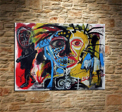 """Jean-Michel Basquiat /""""Untitled/"""" oil painting on canvas huge wall 24x36inch 033"""