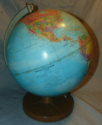 "Vintage 1960's 12"" Diameter Replogle Stereo Relief Globe w/ Metal Stand"