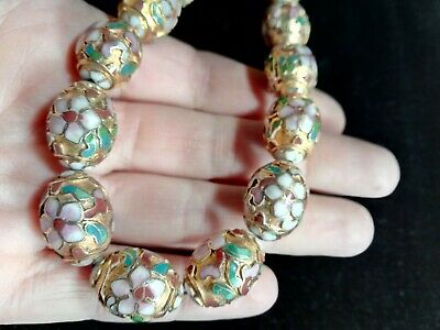 Vintage Chinese Gold Egg Raised Floral Cloisonne Enamel Beads Necklace