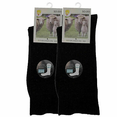 x2 Merino Wool Socks 2-8 7-11 11-14 Black Loose ThermaL Diabetic Circulation AU