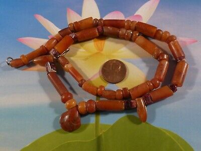 Ancient Pre-Columbian Tairona Agate, Jasper, Red Scallop, Tubes And Bullet Beads