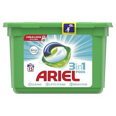 Ariel 3-in-1 Washing Pods with Febreze Bio Liquitabs Laundry Capsules, 15 Washes