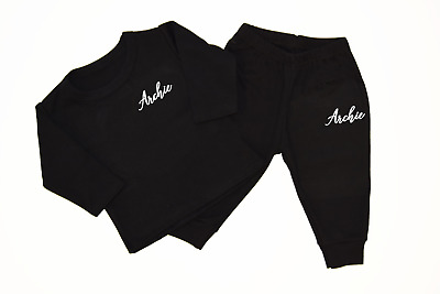 Personalised Fancy Name Black Lounge Set Baby Tracksuit Baby Gifts Newborn