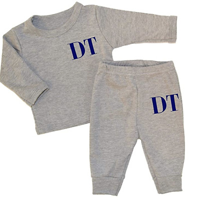 Personalised Initials Black Lounge Set Baby Tracksuit Baby Gifts Newborn Toddler