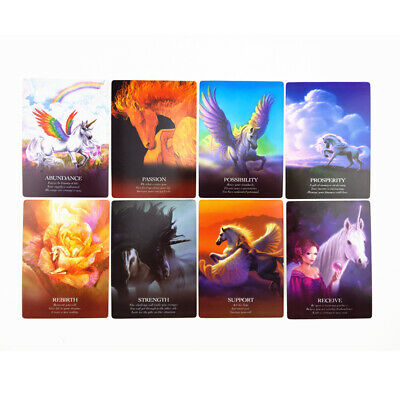 44 pcs Unicorn Oracle Cards Deck Mysterious Tarot Cards Divination Board Game