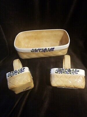 3 Ceramic Blueberry Baskets Signed FRITZY made In MAINE
